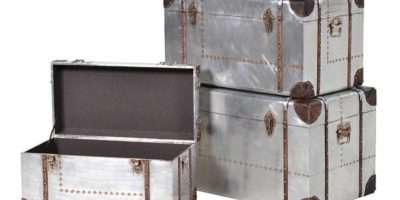 Industrial Aluminium Leather Set Silver Storage Trunks