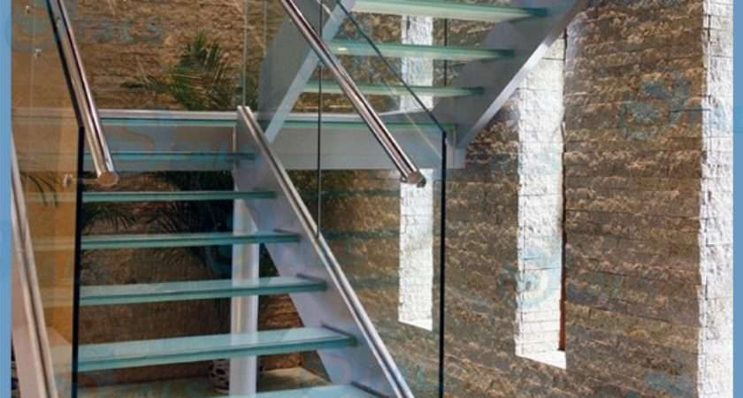 Interior Curved Stair Stainless Steel Stringer Glass