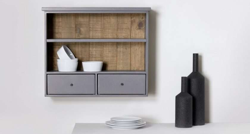 Iona Wall Mounted Shelving Unit Solid Pine Pebble