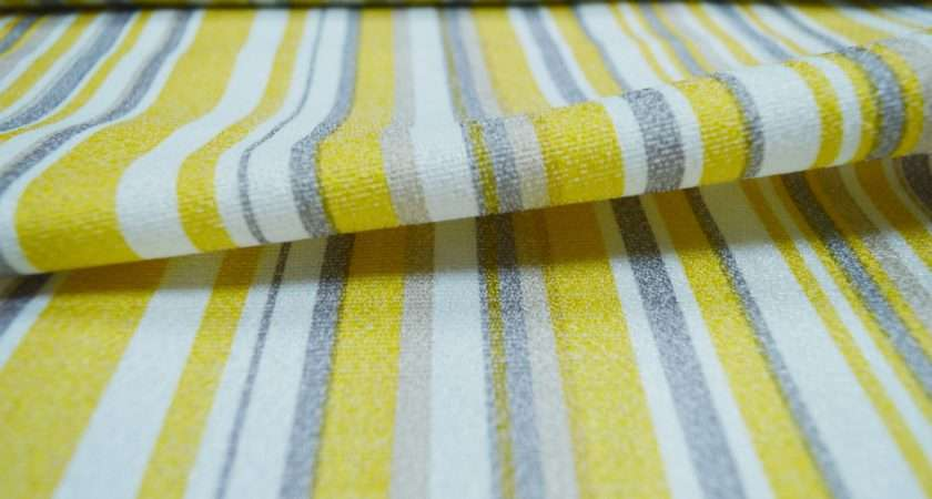Isabella Yellow Striped Curtain Material Curtains Fabx