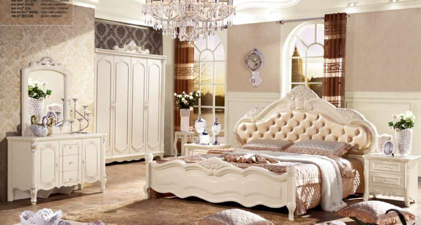 Jhy Romantic Cream Color Rose Solid Wood Carved Bedroom Furniture