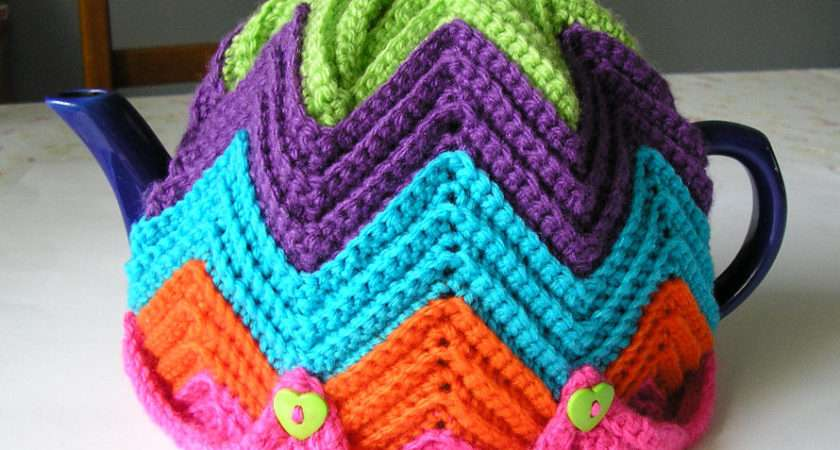 Justjen Knits Stitches Easy Ripple Tea Cosy