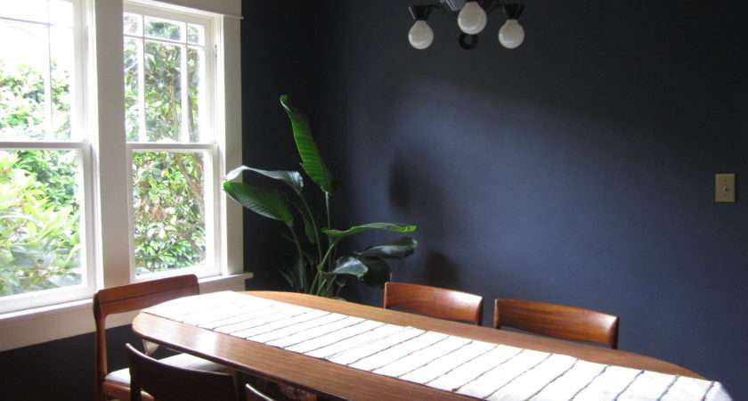 Katie House Deep Blue Walls Dining Room Red