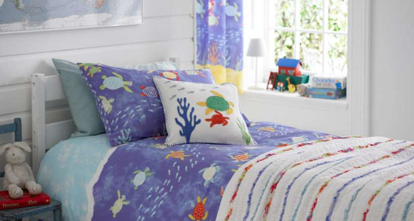 Kids Nautical Seaside Boys Bedding Duvet Cover Set Throw Bedroom