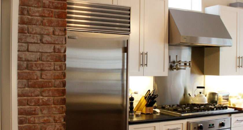 Kitchen Exposed Brick Transitional