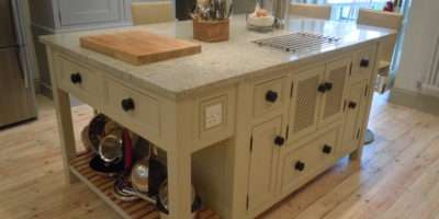 Kitchen Island Unit Hidden Microwave Cupboard Olive