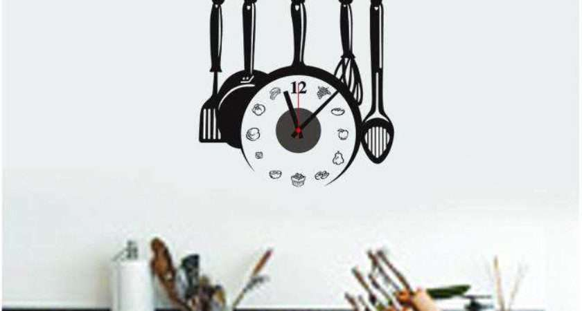 Kitchen Wall Clock Sooktops Pvc Stickers Fun Diy Clocks Watches
