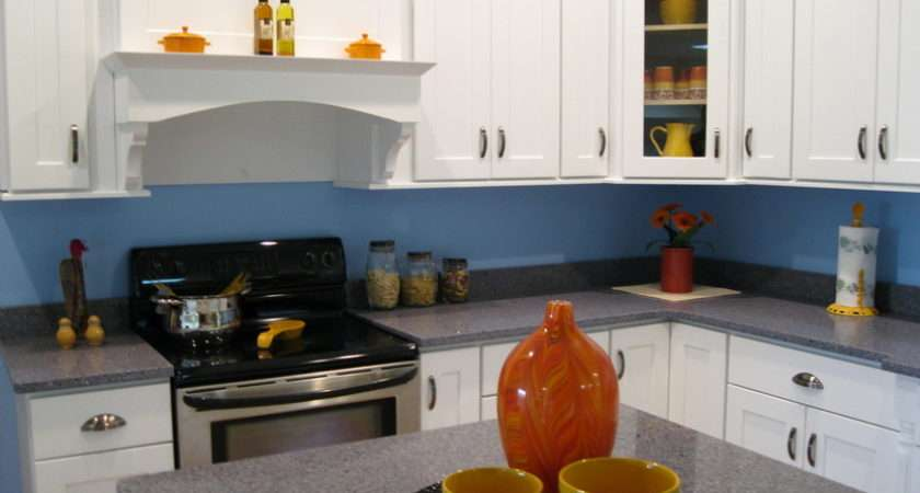 Kitchen Warm Design White Cabinets Blue