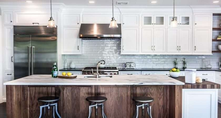 Kitchen White Marble Like Counters Transitional