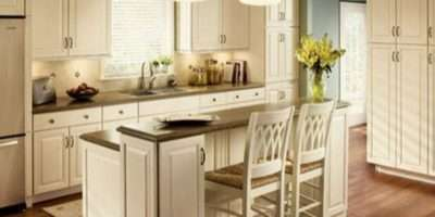 Kitchen White Small Island Granite
