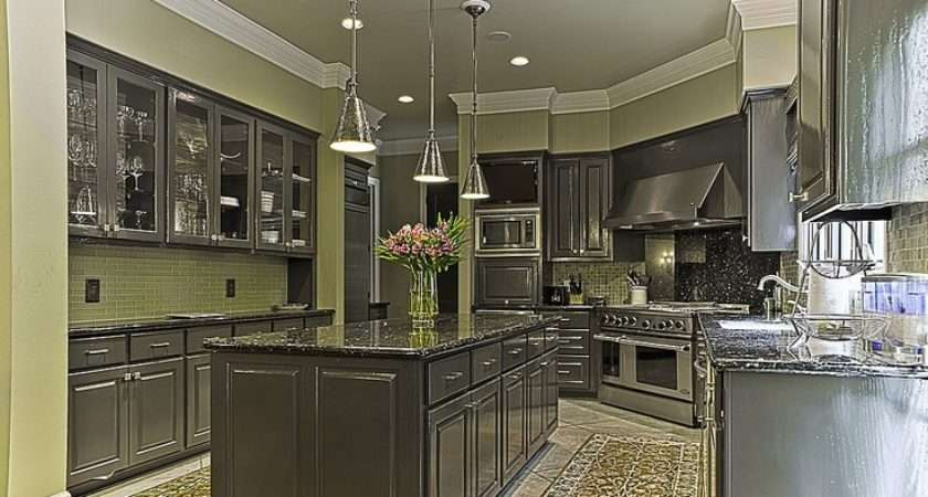 Kitchens House Ideas Green Kitchen Grey Cabinets Crown Molding