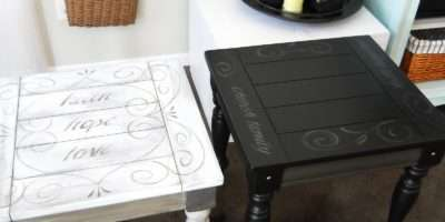 Lake Girl Paints Black End Table Painted Scroll Text