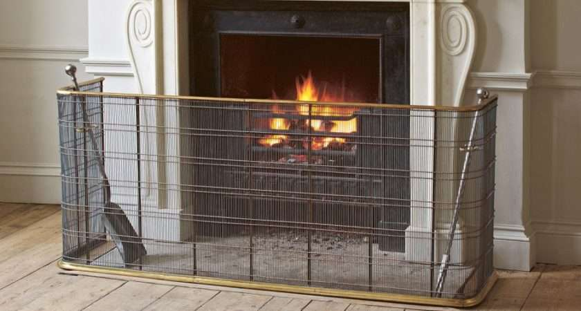 Large Brass Fire Guard Grates Accessories Jamb