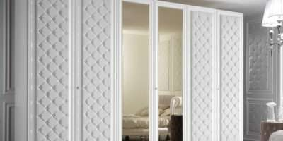 Large Door Button Upholstered Fitted Wardrobe
