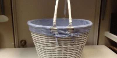 Large Oval White Wicker Laundry Storage Organizer Toy