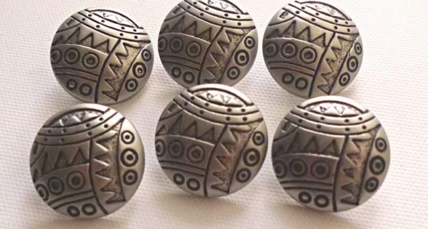 Large Silver Tone Metal Effect Funky Shank Buttons Ebay