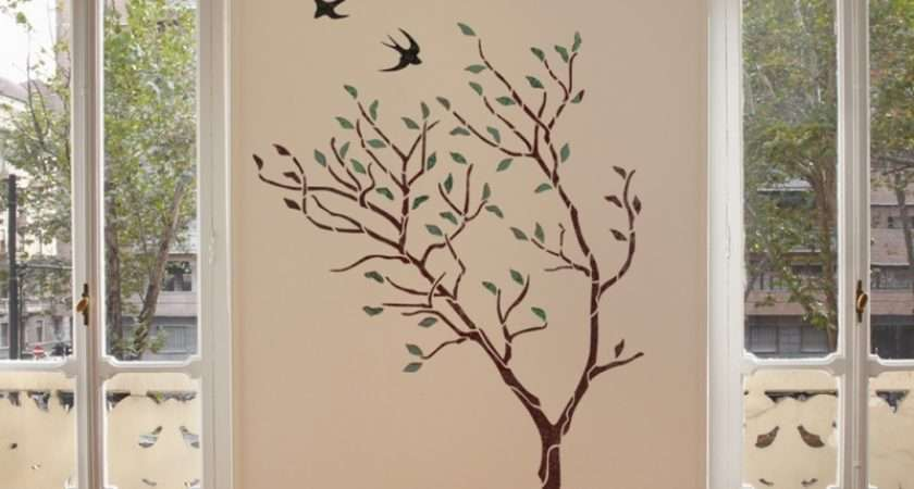 Large Tree Birds Wall Stencil Reusable