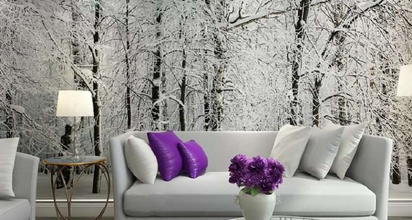 Large Wall Murals Papel Parede Snow Birch Trees Forest