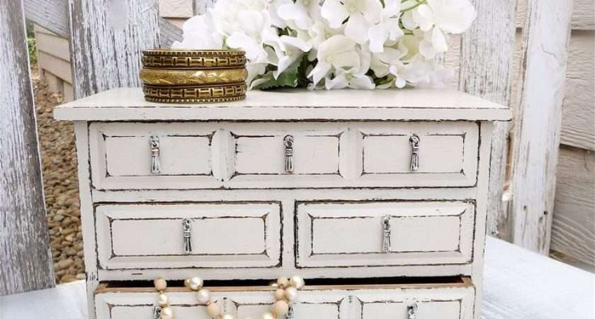 Large White Ivory Shabby Chic Upcycled Jewelry Box Chest Drawers