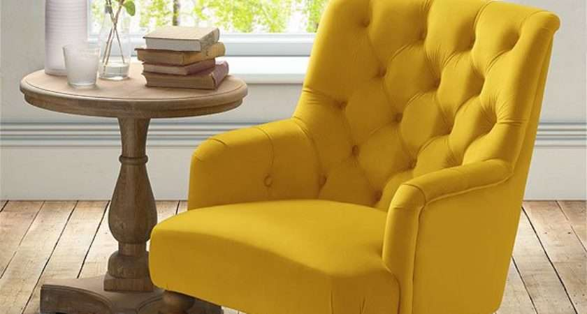 Laterna Lounge Armchair Yellow Buttoned Back Furniture