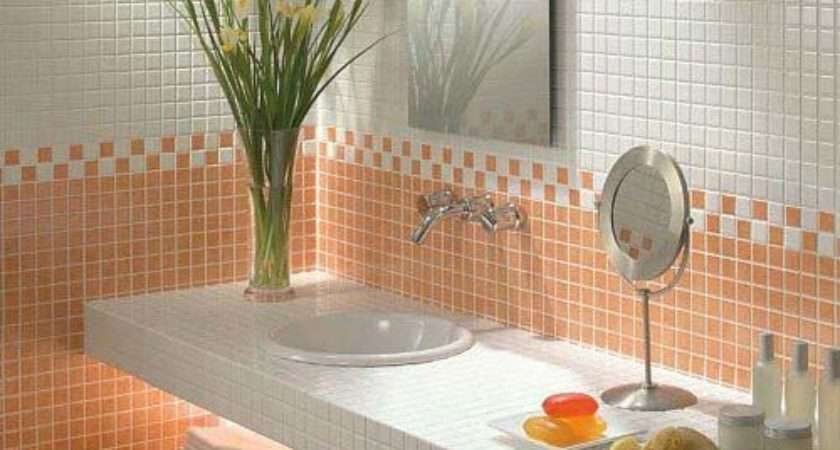 Latest Orange Wall Tile Designs Ideas Modern Bathroom