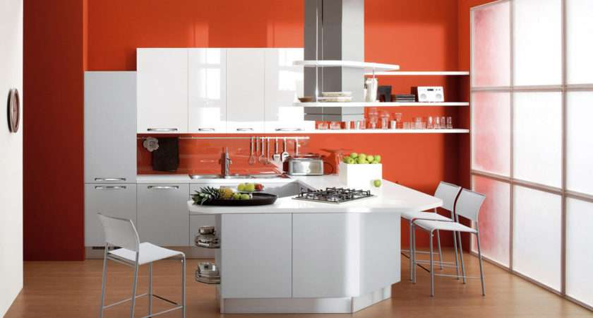 Latest Small Kitchen Designs Orange Wall Paint