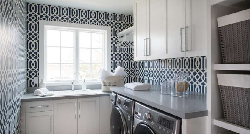 Laundry Room Features Kelly Wearstler Imperial Trellis Navy