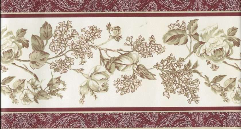 Laura Ashley Country Tan Floral Rust Red Trim Border