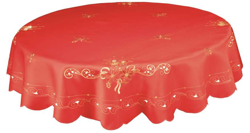 Lavish Inch Round Christmas Tablecloth Red Gold Candle