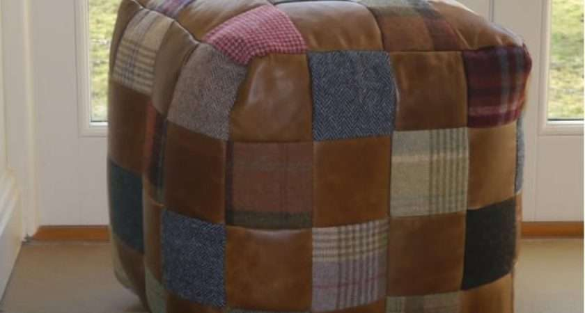 Leather Beanbag Tweed Patchwork Cube Footstool