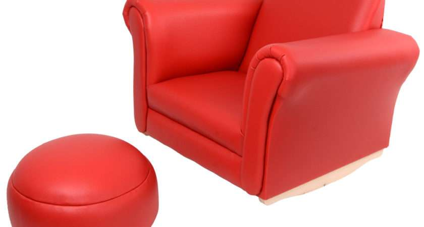 Leather Look Comfy Rocker Rocking Armchair Chair Seat Amp Footstool