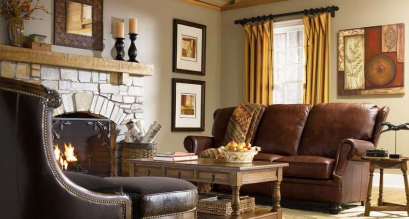 Leather Sofa Country Style Living Room Interior Design Ideas