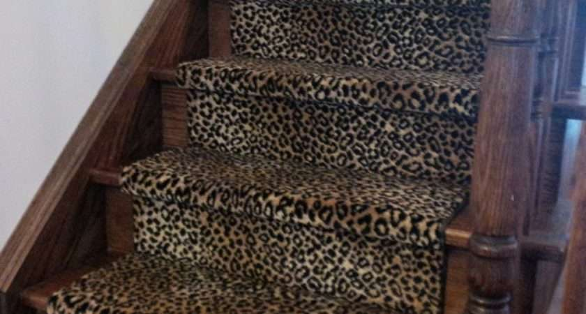 Leopard Print Stair Runner Traditional Staircase