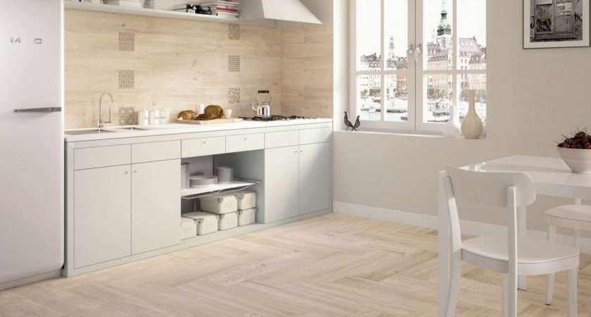 Light Wooden Tiled Kitchen Splashback Floor Wood Tiles White