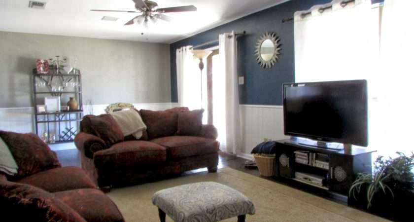 Limited Space Organizing Living Room Navy Blue Accent Wall
