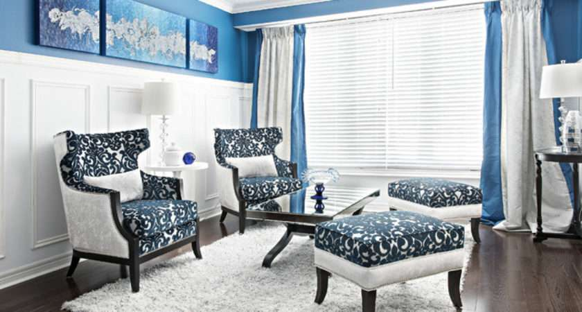 Living Dining Space Royal Blue White Transitional Room
