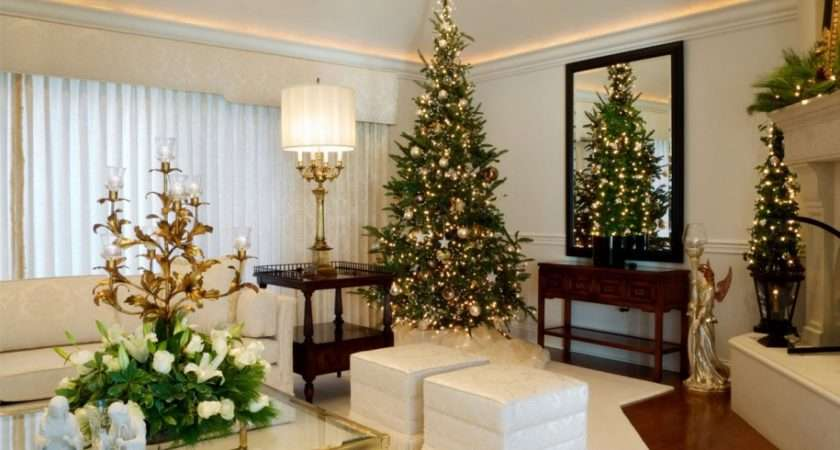 Living Room Christmas Decorating Ideas Golden White
