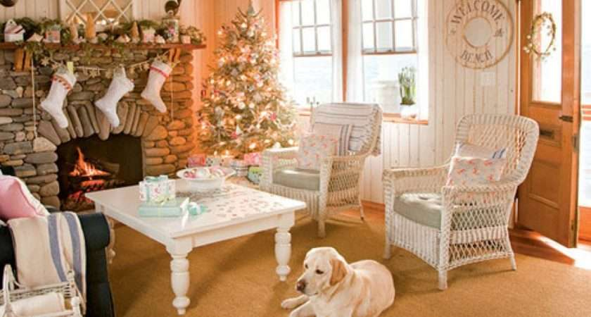Living Room Decorated Christmas English Cottage
