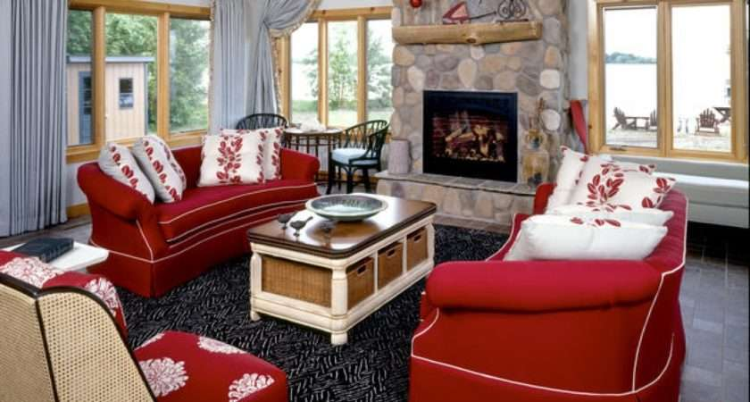 Living Room Red Couch Couches