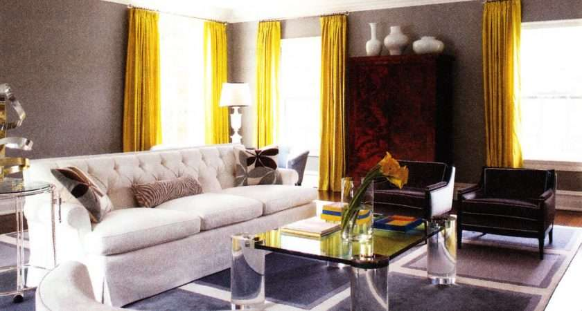 Living Room Yellow Curtain Modern Grey Wall Paint