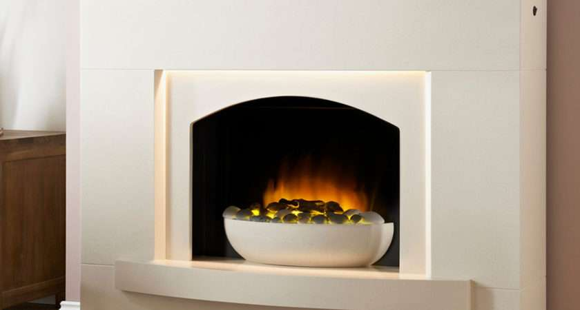 Lombardia White Electric Fireplace Suite