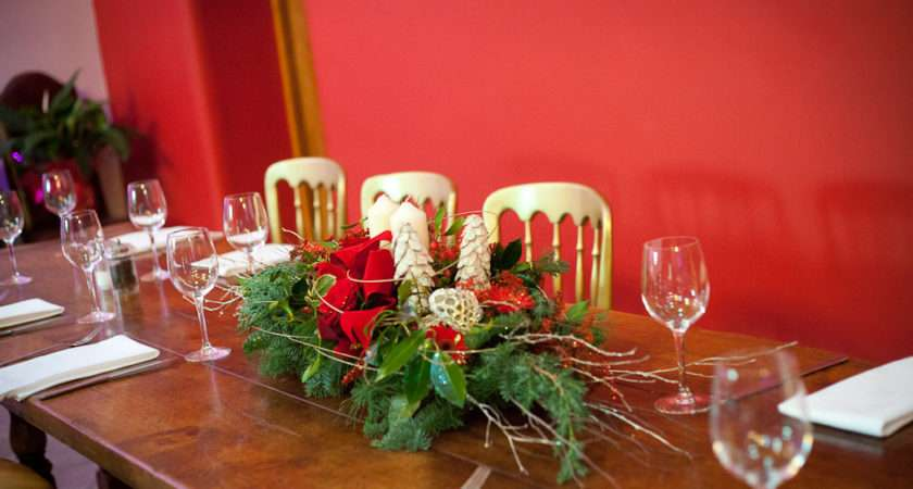 Long Low Christmas Table Centrepieces Hot Pink