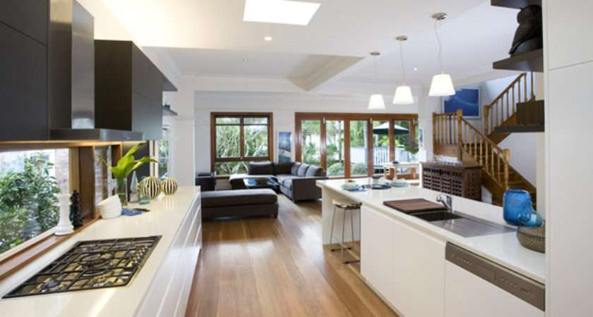 Looking Out Living Area Modern Kitchen Sydney