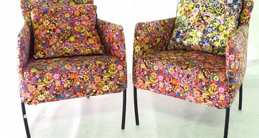 Lot Pair Brightly Upholstered Sixties Style Chairs