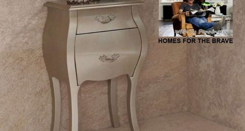 Louis Ornate Narrow Silver Gold Bedside Cabinet