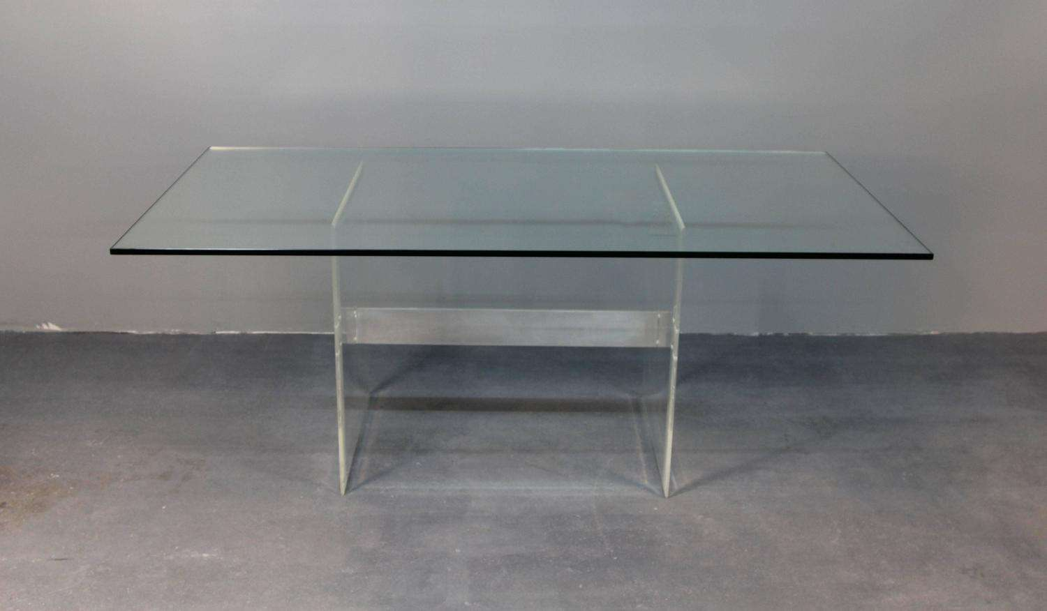 Lucite Base Glass Top Dining Table Desk Sale Stdibs