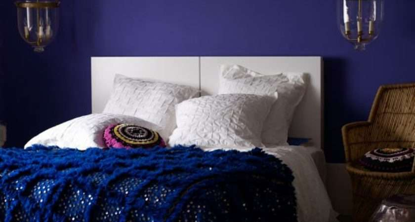 Luxurious Bedroom Deep Blue Walls White Bed