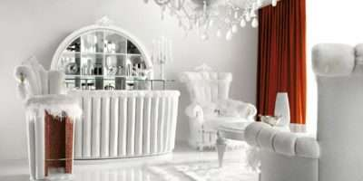 Luxurious White Living Room Interior Red Curtains Stylehomes