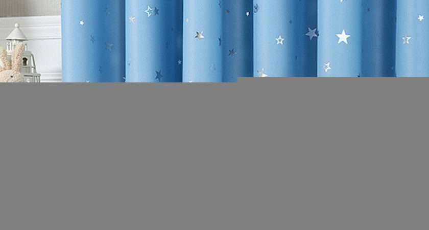 Luxury Baby Blue Blackout Print Star Pattern Insulated Kids Curtain