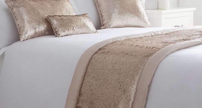 Luxury Embellished Sequin Quilted Bed Runner Throw